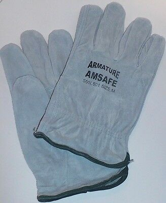 6 Pair ARMATURE AMSAFE COW SPLIT LEATHER WORK DRIVER GLOVES Sz M L Gray, New