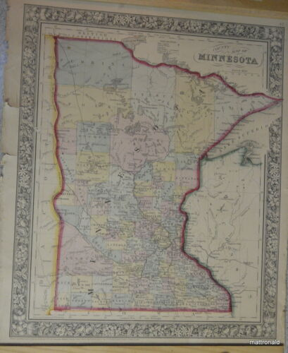 County Map of Minnesota 1862  Hand colored. Drawn by W. H. Gamble