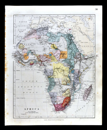 1885 Stanford Map Africa Guinea Madagascar Egypt Congo Cape Colony South Antique