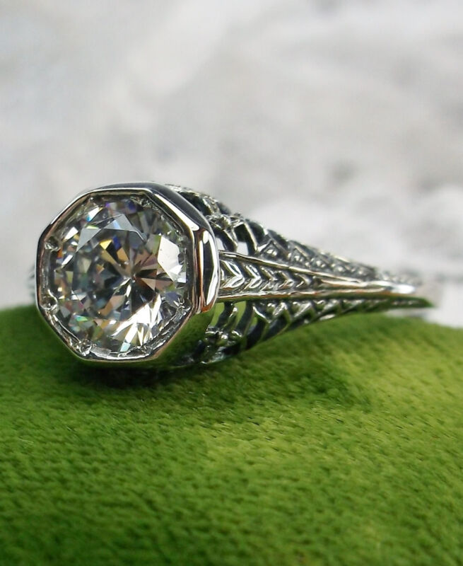 White CZ Sterling Silver Ring/ Edwardian Dandelion Filigree {Made To Order} #205