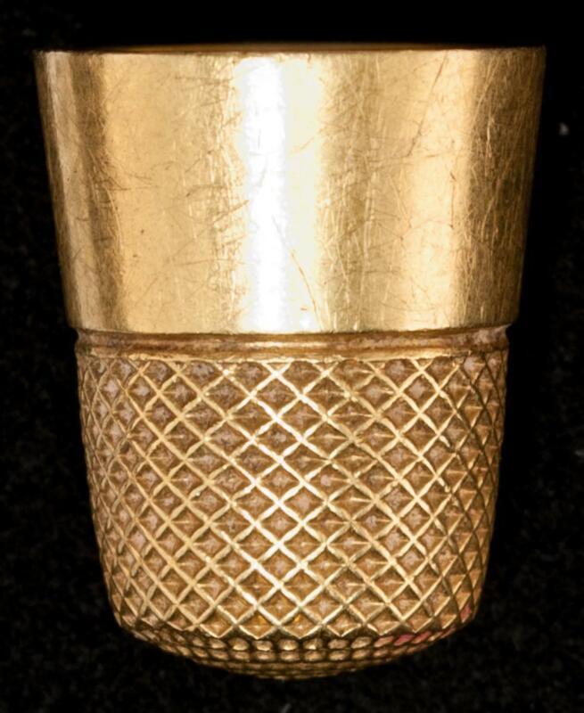 Antique 18k Yellow Gold Thimble Size 7 Basket Weave