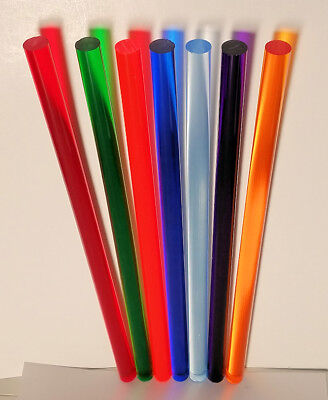 "7 DIFFERENT CLEAR COLOR ACRYLIC PLEXIGLASS PLASTIC LUCITE ROD 1/2"" INCH DIAMETER"