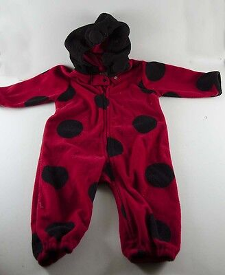 Lady Bug Boy Girl Baby Halloween Costume Footsie Toddler Size 12M Fleece winter