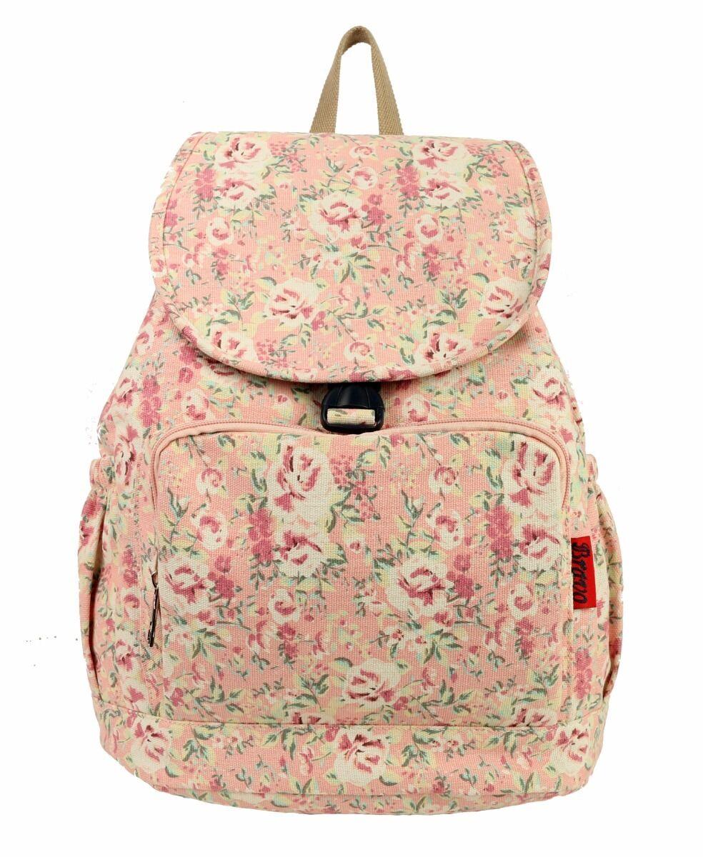 Vintage Women Canvas Travel Shoulder Bag Girls Backpack Rucksack Floral Beige
