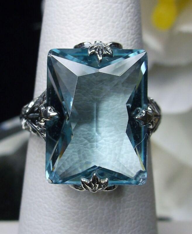 10ct Sim Aquamarine Sterling Silver Art Deco 1930s Filigree Ring {Made To Order}