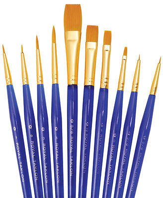 Royal Langnickel Brushes GOLD TAKLON Paint Brush Set ULTRA SHORT 10 Pc Set SVP2