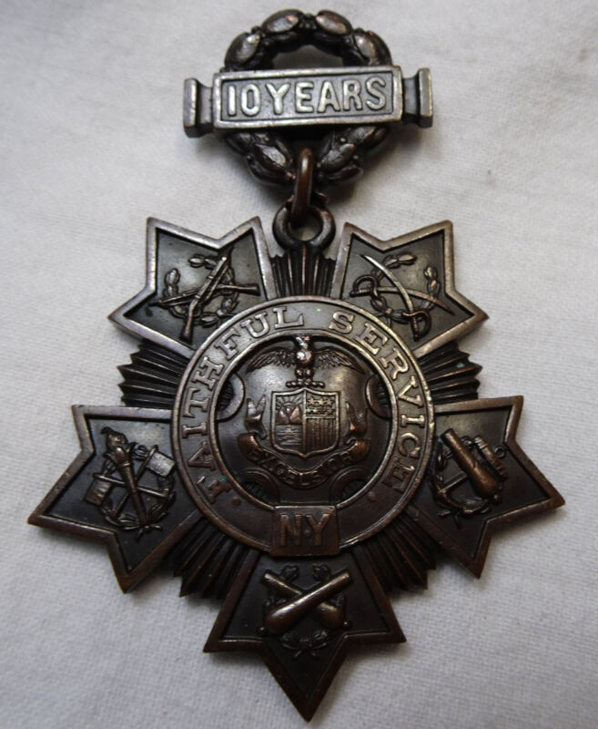 New York National Guard Medal Tiffany & Co 10 Years Faithful Service #