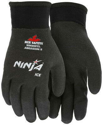 Mcr Safety Ninja Ice Fully Coated Hpt Nylon Work Gloves Black