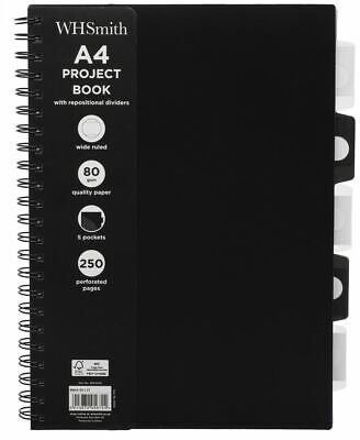 WHSmith Black A4 Wide Ruled Project Notebook 250 White Pages Wiro Bound