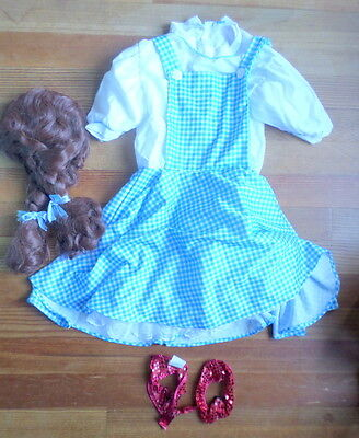 Dorothy Costume Wizard of Oz Rubie's Sz Kids L w Wig Shoe Tops Theater Halloween - Kids Dorothy Shoes