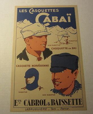 Original Old Vintage c.1940's CABAI French WINTER Ski CAPS HATS Advertising SIGN