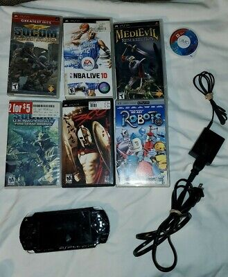 Sony PSP Console & Game Lot - Charger, 6 Games, 1 movie , Sony memory stick