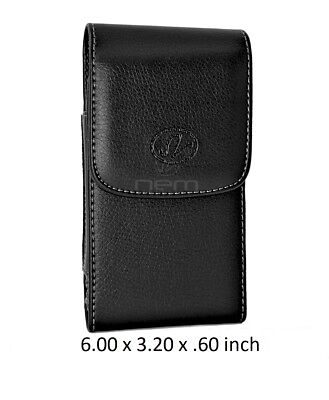 Black Vertical Leather Pouch Case w/Rotating Belt Clip Holster 6.00 x 3.20 x .60