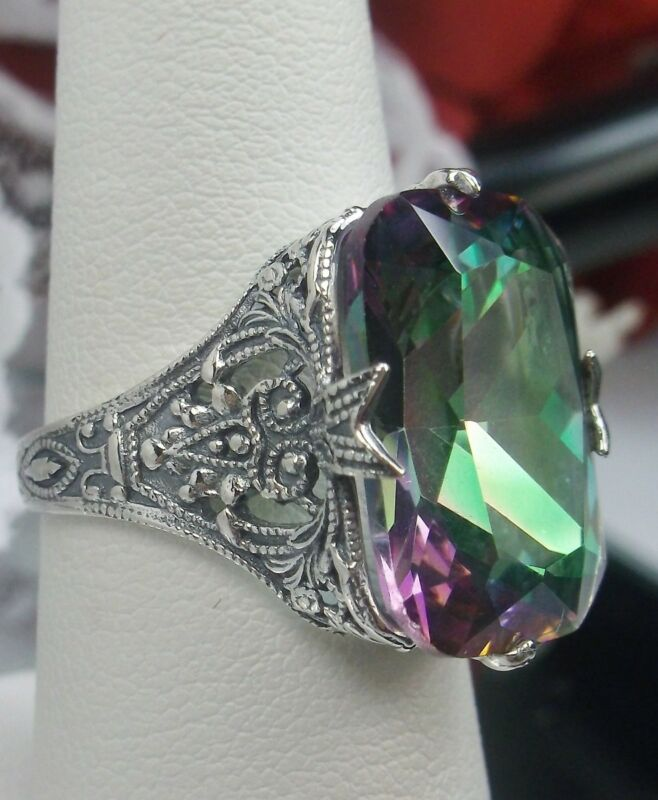 12ct Sim Mystic Topaz Sterling Silver Art Deco Filigree Ring {Made To Order}
