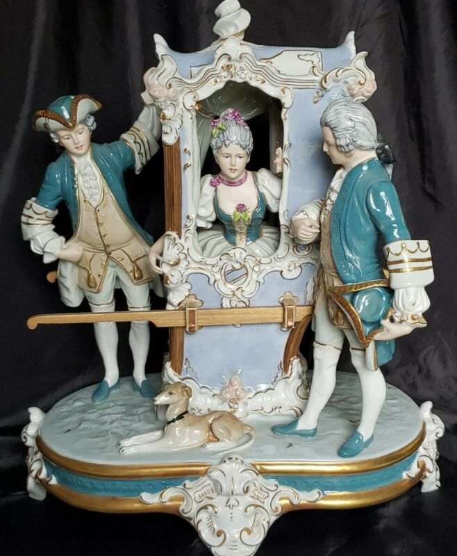 ROYAL DUX LARGE PORCELAIN COMPOSITION SCULPTURE CARRIAGE &VICTORIAN LADY SCENE