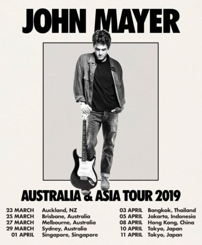 "JOHN MAYER ""AUSTRALIA & ASIA TOUR 2019"" CONCERT POSTER - Pop, Alt Rock, Blues"