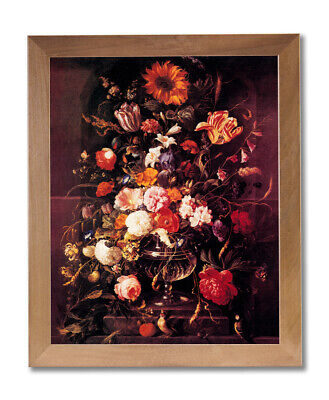 Butterfly And Flowers In Vase Victorian Wall Picture Honey Framed Art Print ()