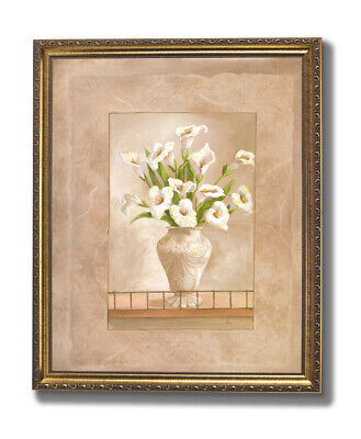 White Callas Flowers In Vase Floral Wall Picture Gold Framed Art Print Callas Poster Print