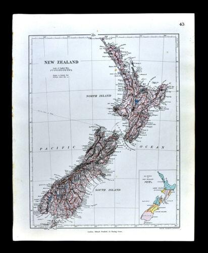 1885 Stanford Map New Zealand Aukland Wellington Christchurch Oceania Antique