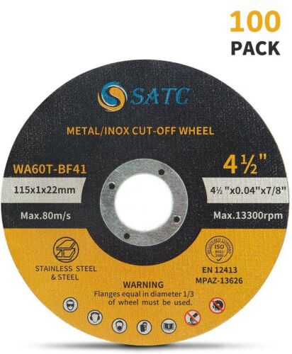 """100 Pack Cut Off Wheels 4-1/2"""" Metal Stainless Steel Angle Grinder Cutting Disc"""