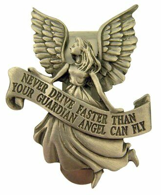 Pewter Guardian Angel with Banner Never Driver Faster Visor Clip, 2 Inch