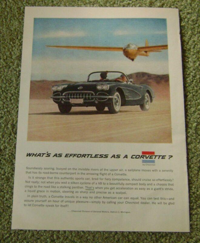1958 Chevrolet Corvette Original Print Ad