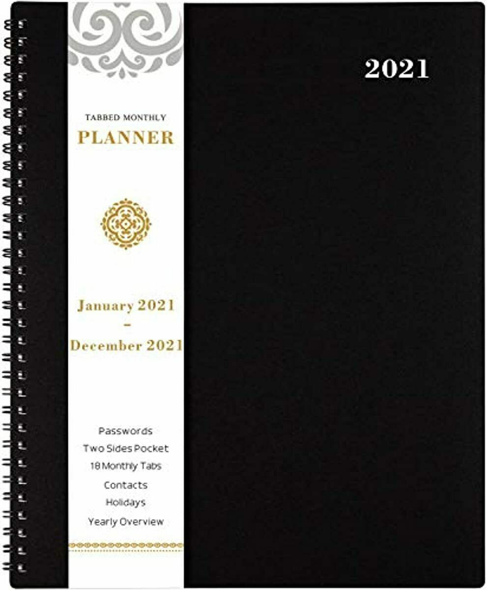 2021 Monthly Planner - 12-Month Planner with Tabs & Pocket &
