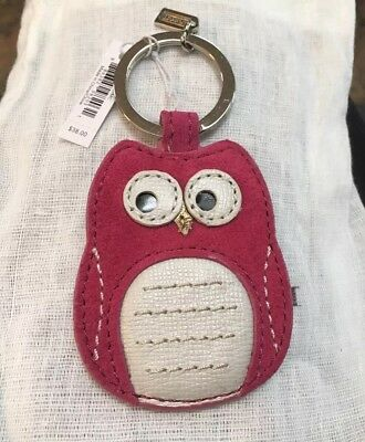 NWT Coach OWL Bird Pink Magenta Suede Leather Keychain keyring KEY FOB NEW