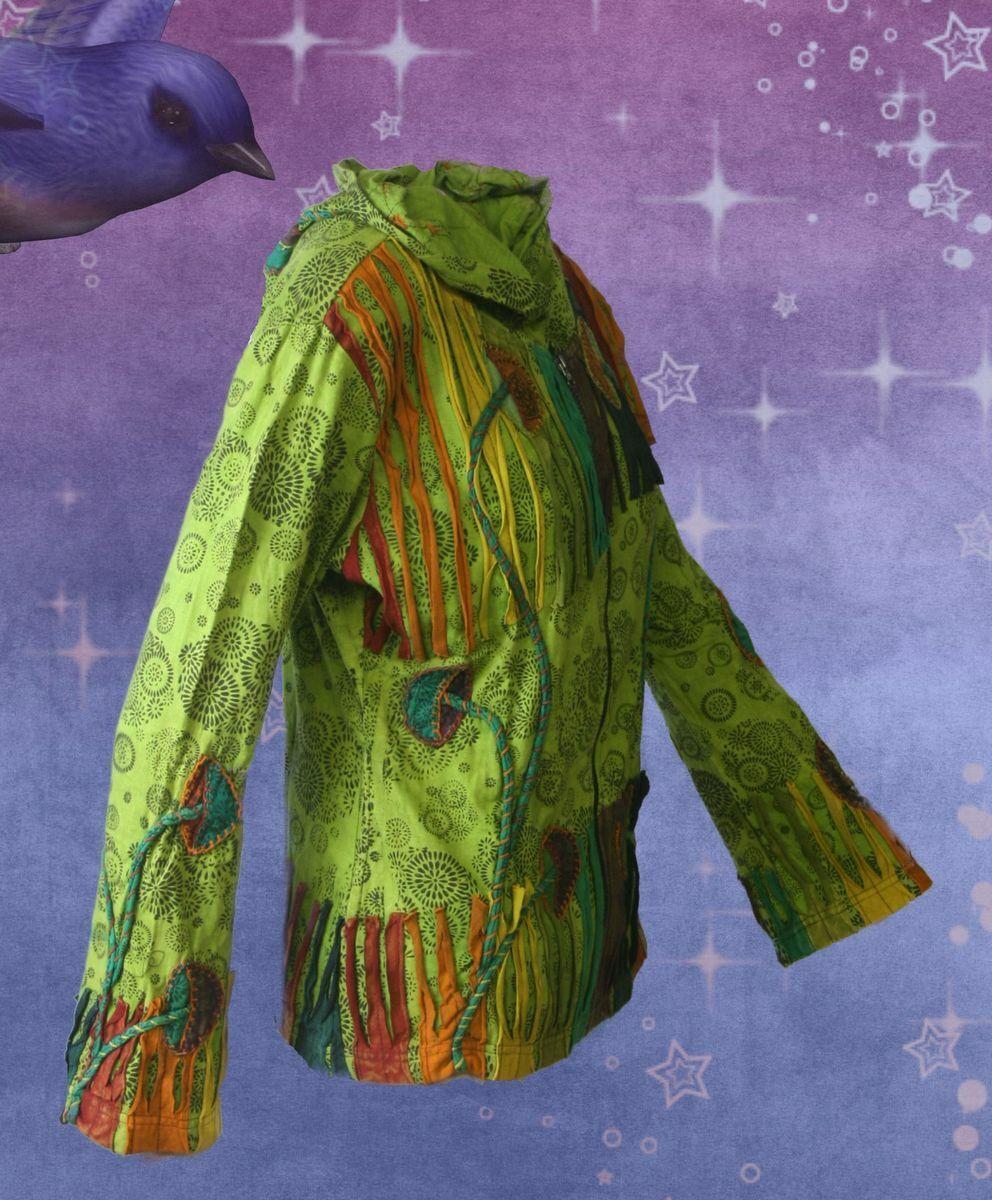 Gothic Ethno Nepal Witchy Pagan Jacke Hoodie schwarz grün rot S M L XL XXL
