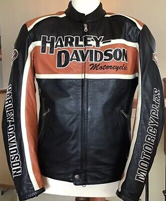 HARLEY DAVIDSON Men's MEDIUM Classic Cruiser B&S Armored Leather Jacket W/ Liner