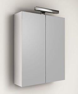 Specchio contenitore per mobile da bagno con applique 60 specchiera in bianco ebay - Specchio contenitore bagno ...