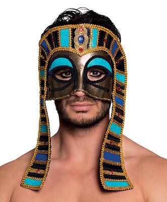 MENS LADIES EGYPTIAN PHAROAH MASK DELUXE GOLD HALLOWEEN MASQUERADE BALL EYEMASK ()