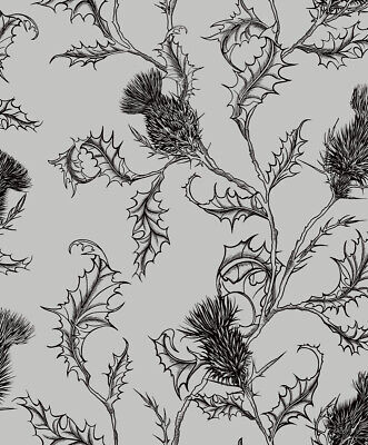 Holden Decor - Thistle Wallpaper - Black / Silver - Feature Wall - 12631