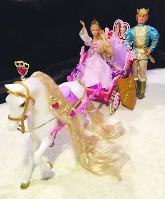 Barbie Rapunzel Prince Stefan SPEAKS Botticelli Horse and Carriage