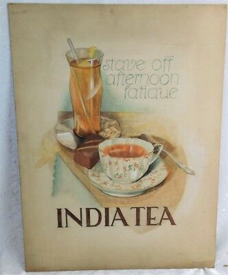 ATQ 1930'S ART DECO INDIA TEA SIGNED PASTEL ADVERTISING SIGN POSTER AD ART