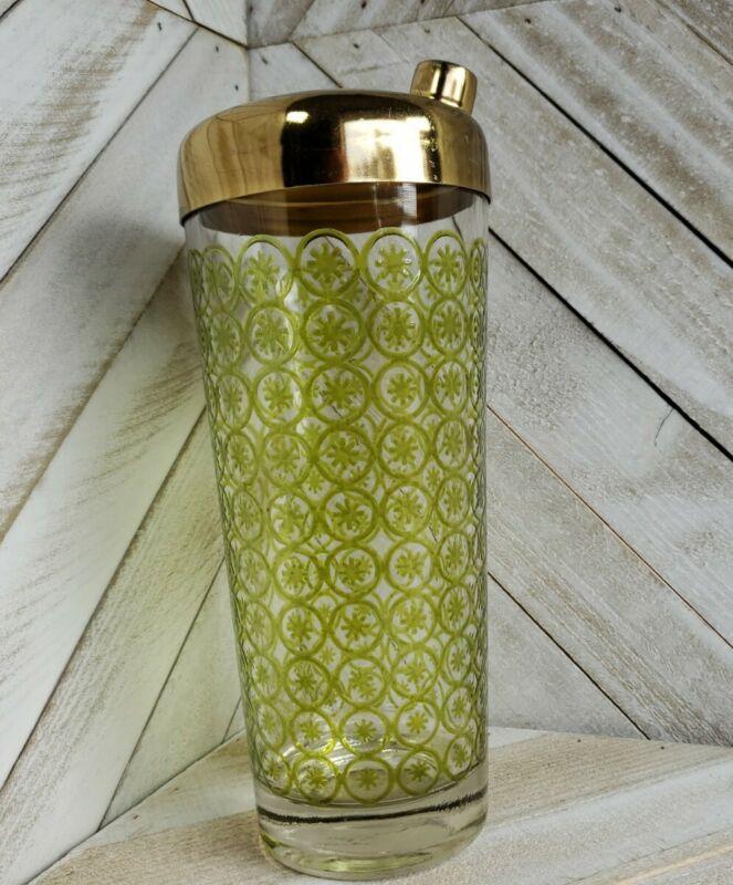 Vintage Mid-century Martini Cocktail Shaker Green Starburst Pattern Glass