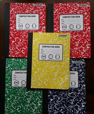 5-composition Books College Ruled Paper Notebook 80 Sheets Each Ramdom Colors