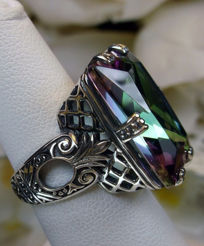 Mystic Topaz Ring/Sterling Silver 30ct Simulated Gem Art Deco [Made To Order]104