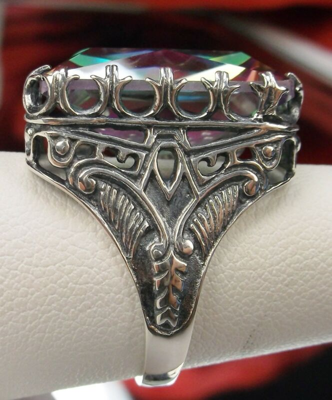30ct *Mystic Topaz* Art Deco 1920s Sterling Silver Filigree Ring {Made To Order}