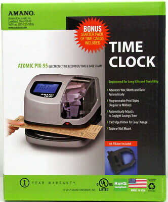 Amano Atomic Pix-95 Time Clock Electronic Time Date Stamp Digital Lcd New