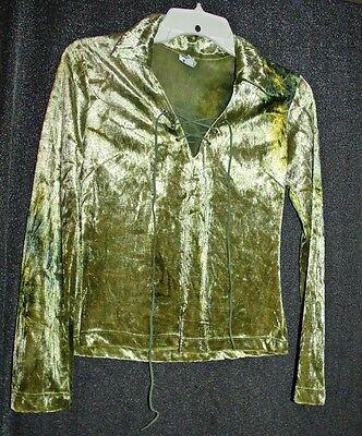 Vtg 90s green crush velvet top Size Small