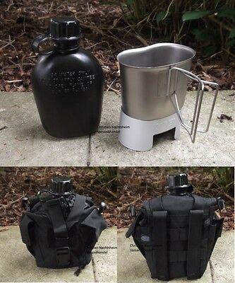 Campingset 1 Ltr Trinkflasche SCHWARZ mit Becher + Ständer Kocher + Molle Tasche