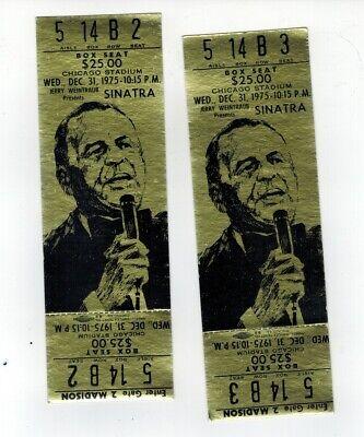 FRANK SINATRA 2 UNUSED TICKETS Box Seat 1975 CHICAGO STADIUM (SPG043393)