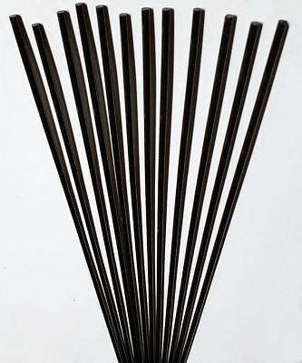 12 Pcs 18 Diameter X 12 Long Solid Black Acrylic Plexiglass Plastic Rod 3mm