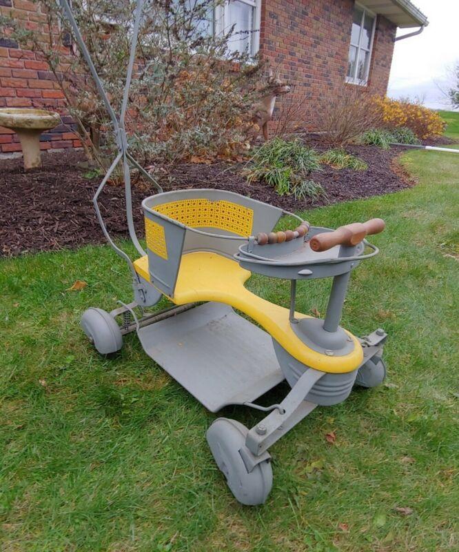 Antique Metal And Wood Baby Stroller, walker, Art Deco design with fenders!