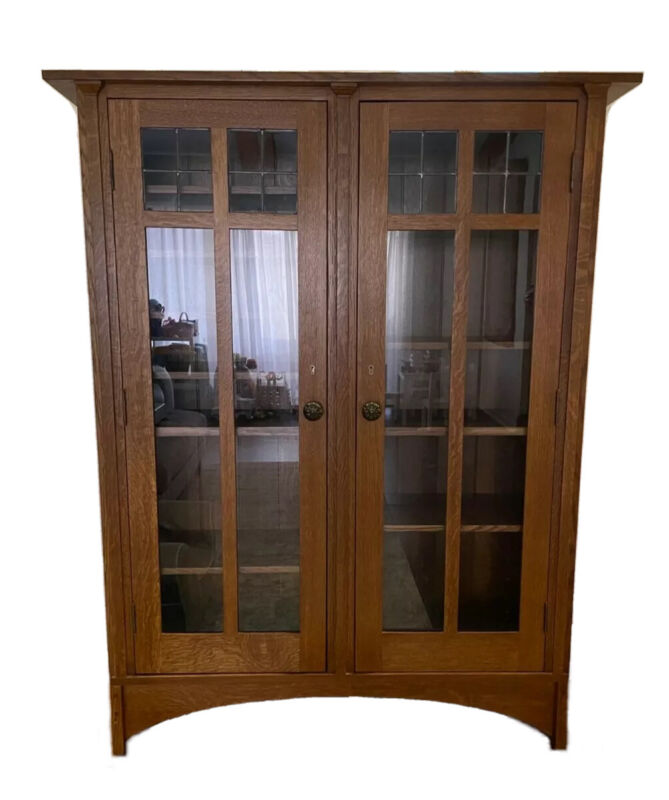 STICKLEY 2 Glass Door Oak Mission Bookcase Curio Cabinet 8 Shelves Arts & Crafts