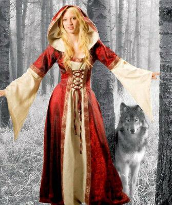 Mittelalter Kleid Brautkleid Kleid mit Borten und Kapuze weite Ärmel - Weit Und Kostüm