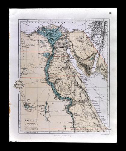 1885 Stanford Map Egypt Cairo Alexandria Pyramids Giza Suez Canal Africa Antique