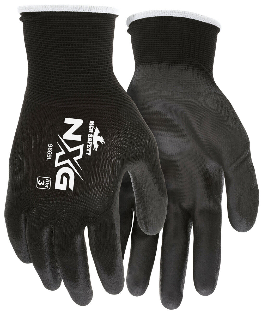 Memphis Polyurethane Gloves 9669 13 Gauge Black Nylon Shell