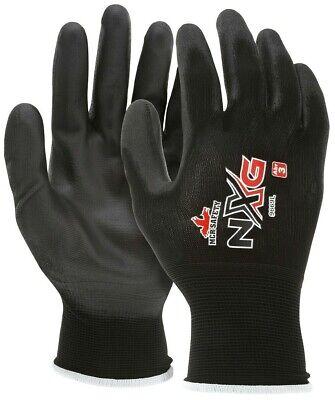 12 Pairs Mcr Safety Polyurethane Coated Nylon Work Gloves